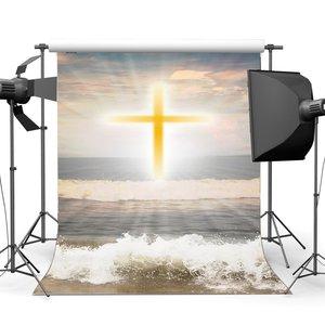Image 1 - Fondo de la costa de la resurrección de Jesús telón de fondo de cruz santa luces azul cielo nube blanca olas de fondo