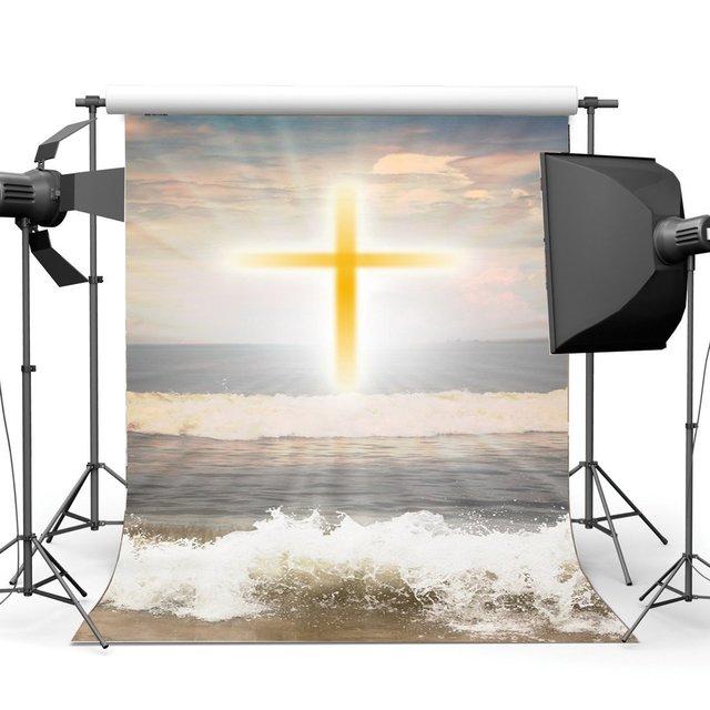 Fondo de la costa de la resurrección de Jesús telón de fondo de cruz santa luces azul cielo nube blanca olas de fondo