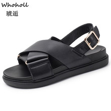 Whoholl Women Flat Sandals Gladiator Open Toe Buckle Soft Jelly Sandals Female Casual Summer Flat Platform for Girl Beach Shoes soft beige metallic buckle flat sandals