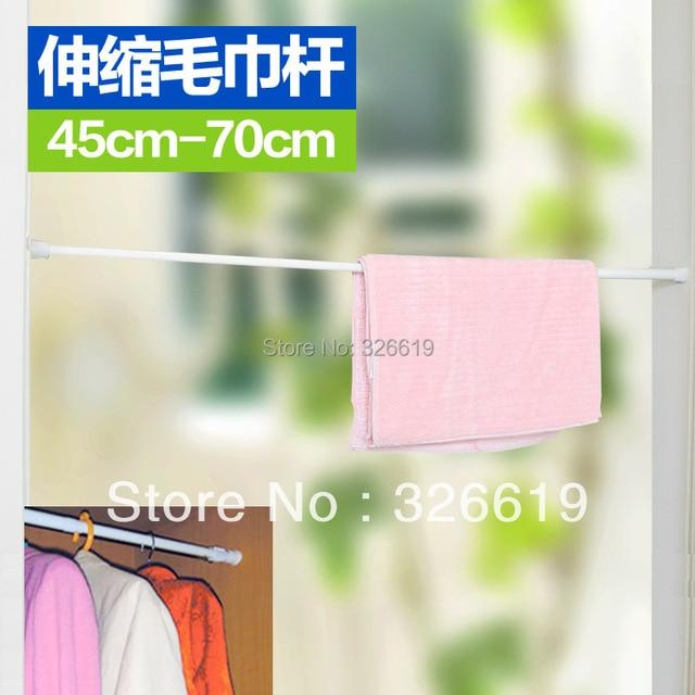 Free Shipping Single Towel Bar White Japanese Style Retractable Towel Bar  Wardrobe Rod Bearing Towel Bar
