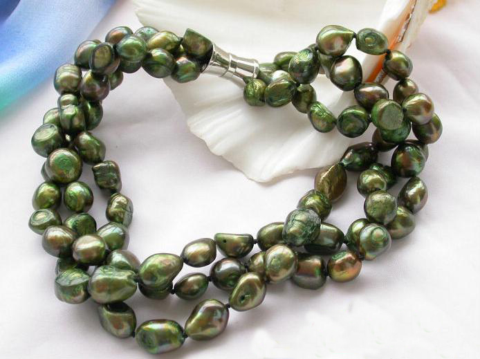 Natural Pearl Necklace,3Rows 10-13mm Green Baroque Freshwater Pearl Jewellery,Magnet Clasp,Perfect Women Chirstmas Gift Jewelry genuine baroque pearl jewelry set natural freshwater pearl necklace earrings 7 8mm 4 rows magnet clasp fine jewelry for woman