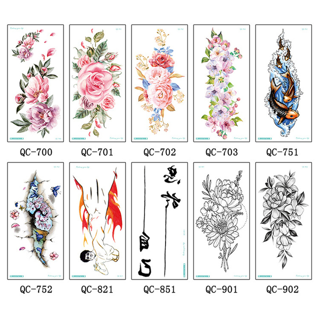 606076d29 3Sheets Body Art Tattoo Stickers Blossom Flower Crane Letters Decal Fake  Tattoo DIY Temporary Tattoo Stickers