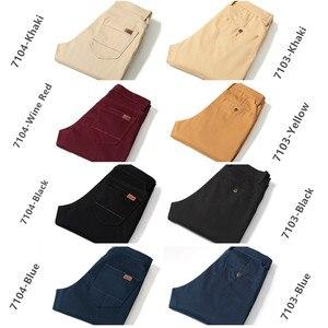 Image 5 - Pants Men Business Straight Cotton Trousers Stretch Man Elastic Slim Fit Casual Big Plus Size 42 44 46 Black Khaki Red Blue Pant