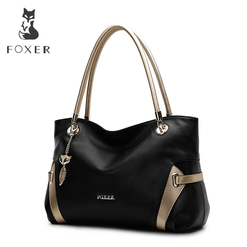 купить FOXER Women Handbag Genuine Soft Leather Shoulder Bags Fashion Solid Multi Color FemaleTote bag по цене 5408.52 рублей