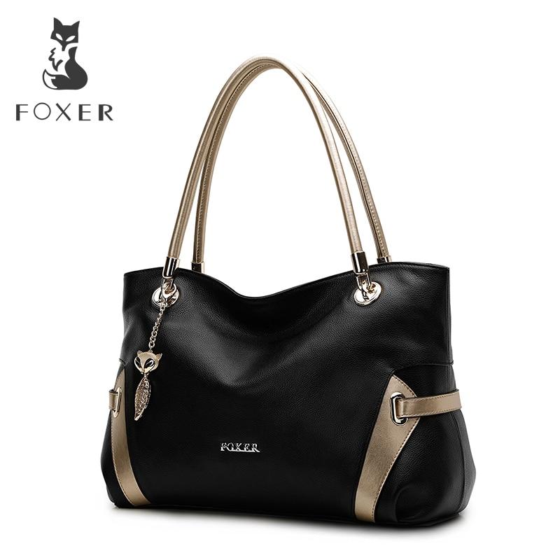 FOXER Women Handbag Genuine Soft Leather Shoulder Bags Fashion Solid Multi Color FemaleTote Bag