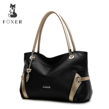 FOXER  Soft Women Genuine leather shoulder Bag Solid Multi color Female handbag with free shipping free shipping fashion diamond clip rhinestone snake patent leather female shoulder handbag