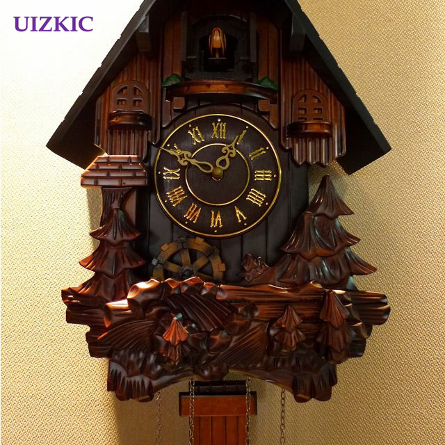 The children rooms  Solid wood cuckoo clock Rural wall clock for - Home Decor