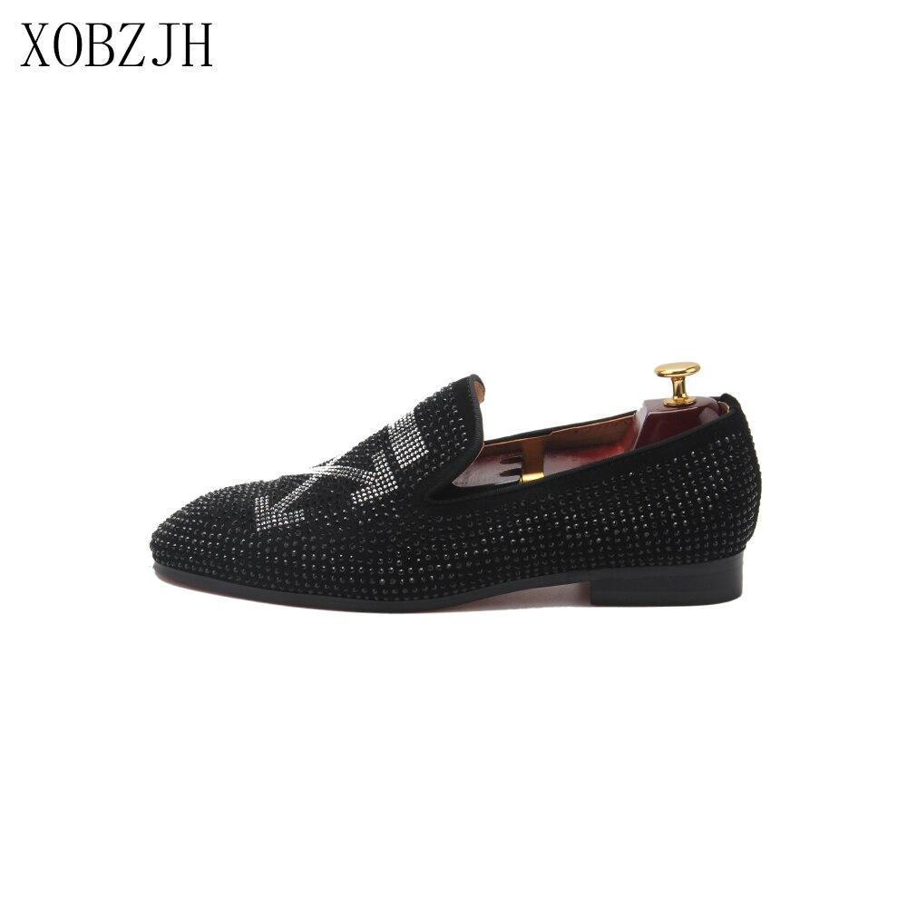XOBZJH hommes chaussures 2019 hommes de luxe de mariage de bal noir strass mocassins Designer de haute qualité en cuir rouge bas grande taille chaussures