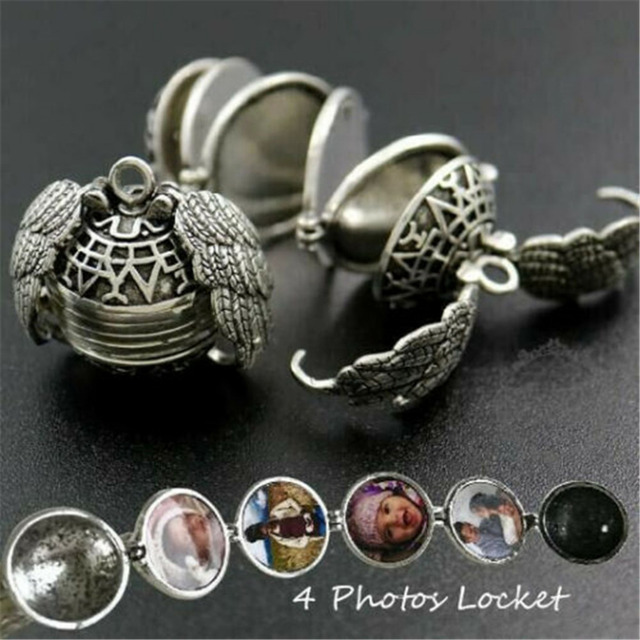 Expanding Photo Locket Necklace Pendant Choker Angel Wings Gift Jewelry Decoration Necklace Exquisite Ornaments Torque Pendant 3