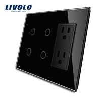 Livolo US Standard Vertical 2Gang 2Gang US Socket 15A Luxury Black Crystal Glass VL C502 12