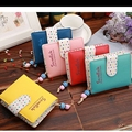 Hanup Fashion Candy Colors Women Wallets Short Polka Dots Leather Zipper Small Wallet Purse Cards Holder For Girls Women Laddies
