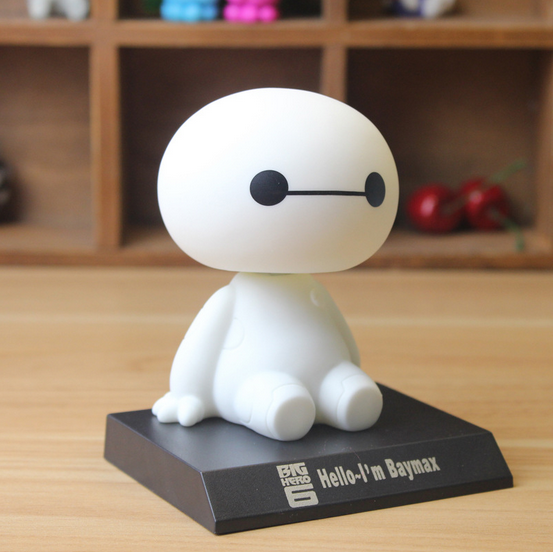 1pcs Big Hero 6 Baymax Toy Model Dolls figma 12cm Lovely Cute Automobile Head Shaking Action Figure World Action-026