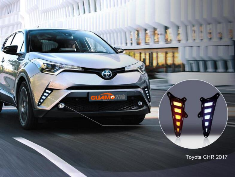 Car Accessories For Toyota C-HR CHR 2016 2017 DRL LED Daytime Running Light Daylight Rear Fog light Bumper Light Reflector Lamp novsight car led headlights assembly headlamp projector drl fog light daylight for toyota prado 2004 2009