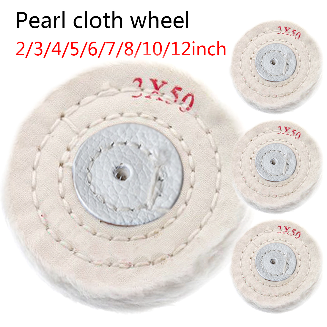 White 50-300mm Cotton Lint Cloth Buffing Wheel Gold Silver Jewelry Mirror Polishing Wheel 4mm Inner Hole 50 Layers