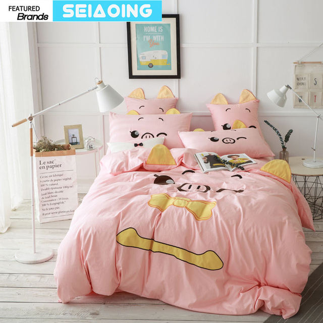 Animal Pink Pig Bedding Set Embroidery Bed Linens Quilt Comforter Cover Home Decor Quality