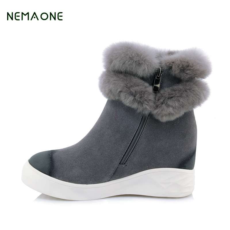 NEMAONE Fashion Lady Shoes High Quality Waterproof Genuine Leather Snow Boots Natural Fur Winter Boots Warm Classic Women Boots
