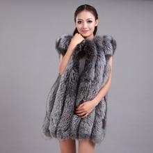 LIYAFUR 2016 Women's 100% Real Genuine Full Pelt Silver Fox Fur Long Sleeveless Vest Waistcoat Gilet for Women