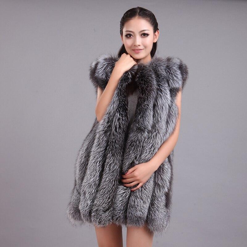 LIYAFUR Dámská 100% skutečná originální plstěná stříbrná liška s dlouhým rukávem vesta s vestou pro ženy
