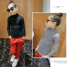 Female child sweater 2016 clothing autumn and winter casual all-match solid color turtleneck sweater knitted basic shirt
