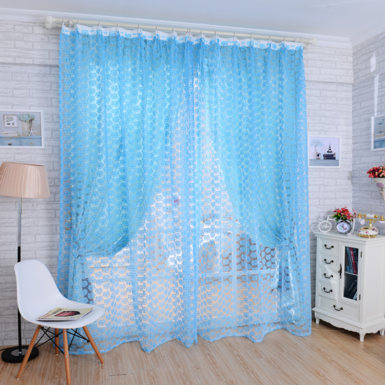 Rustic blue purple rose pastel yellow shalian floor window piaochuang the finished curtain