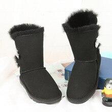 จัดส่งฟรี! New int'lแบรนด์รองเท้าหนังแกะผ้าขนสัตว์100%ภายในผู้หญิงผู้หญิงที่ทำจากขนสัตว์จริงรองเท้าหิมะพร้อมกล่อง