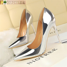 BIGTREE Shoes New Patent Leather Wonen Pumps Fashion Office Women Sexy High Heels Womens Wedding Party