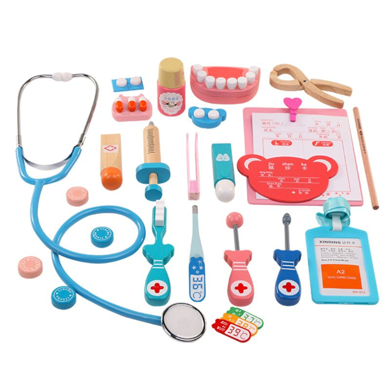 Kids Doctor Toys Role-playing Games Pretend Play Wooden Medical Kit Set Pretend Doctor Play Toys for Children image