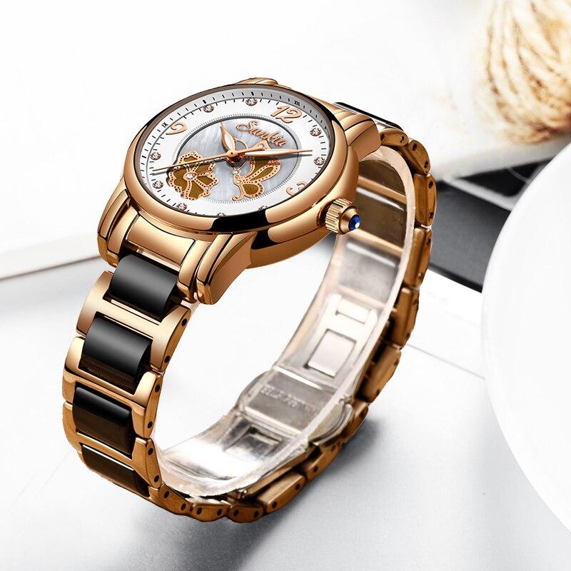 Image 3 - Quartz Watches Women Fashion Waterproof Watch 2019 Top Brand Luxury Ladys Ceramics Stainless Steel Women Watch Relogio Feminino-in Women's Watches from Watches