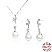 DISINIYA The Most Popular Set of Silver Pearl Necklaces, Law 925, Is Women's Necklaces and Earrings. 925 Sterling Silver most world 925
