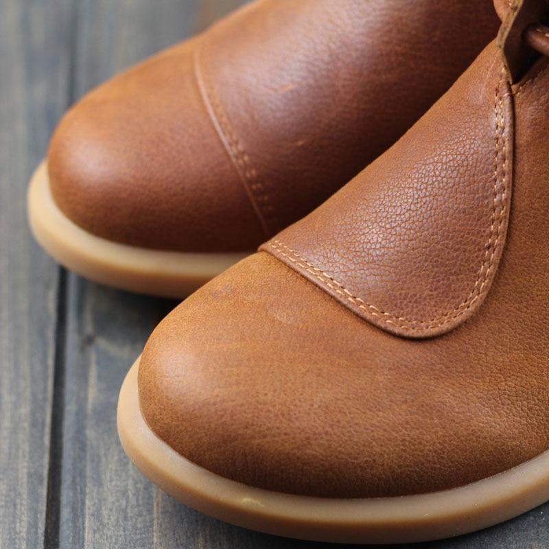 المرأة الأحذية البني الأسود الخريف الشتاء الإناث أحذية امرأة أحذية جلدية اصلية الانزلاق على حذاء من الجلد شيك نمط (3269)-في أحذية الكاحل من أحذية على  مجموعة 2
