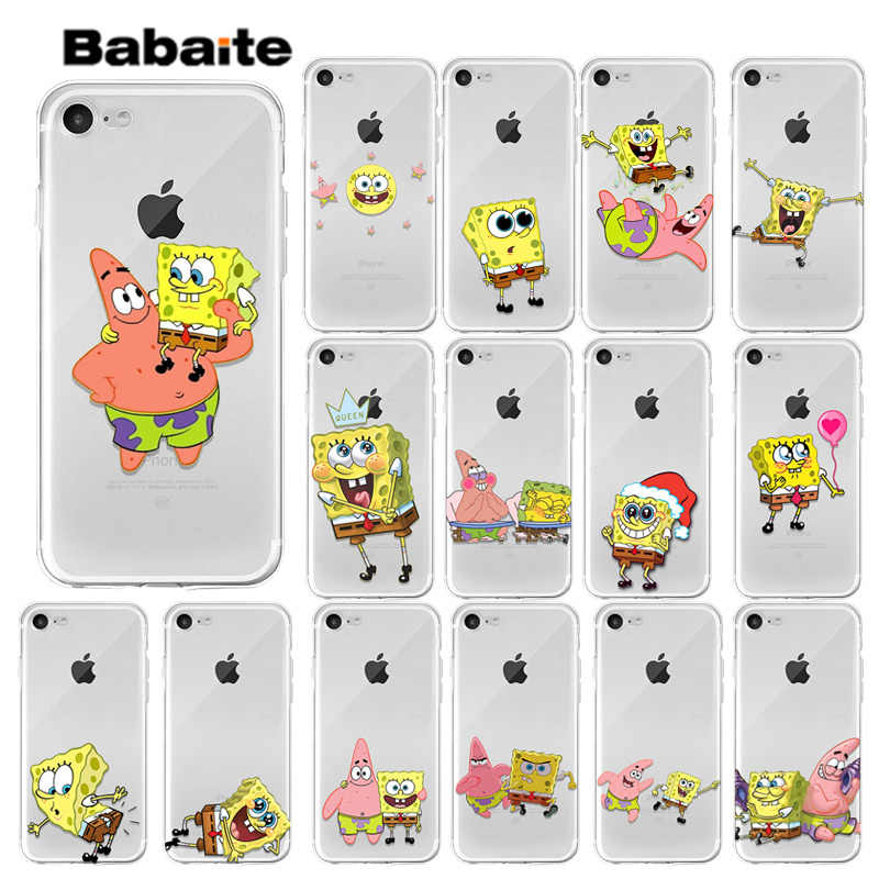 Babaite SpongeBob Smart Cover Transparent Soft Shell Phone Case for iPhone X XS MAX  6 6s 7 7plus 8 8Plus 5 5S SE XR