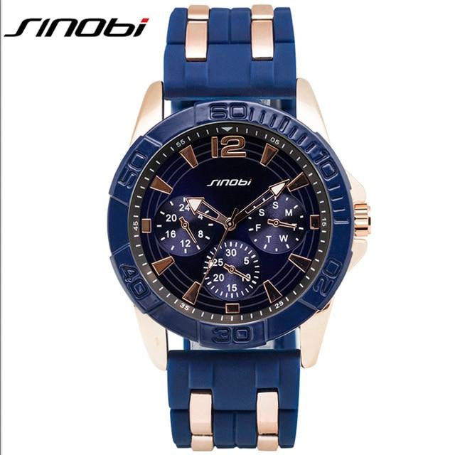 SINOBI Blue Sport Watches for Men 2016 Rubber Band Watch Men Fashion 3ATM Waterproof Quartz Wristwatches Relogio Masculino 5808