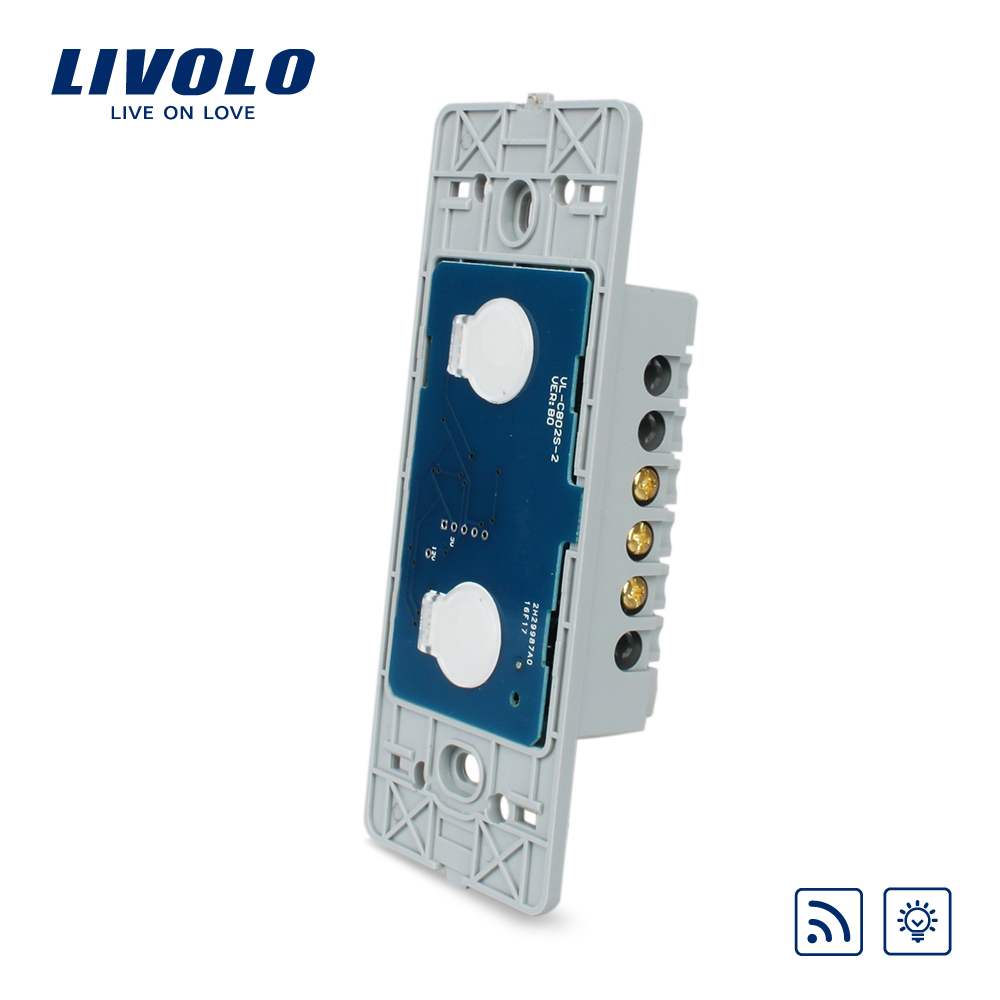 Livolo US standard two gang Wall Light Touch Dimmer&Remote Switch Base board ,Without Glass Panel, VL-C502DR livolo us standard one gang wall light touch dimmer switch base board ac 110 250v without glass panel vl c501d