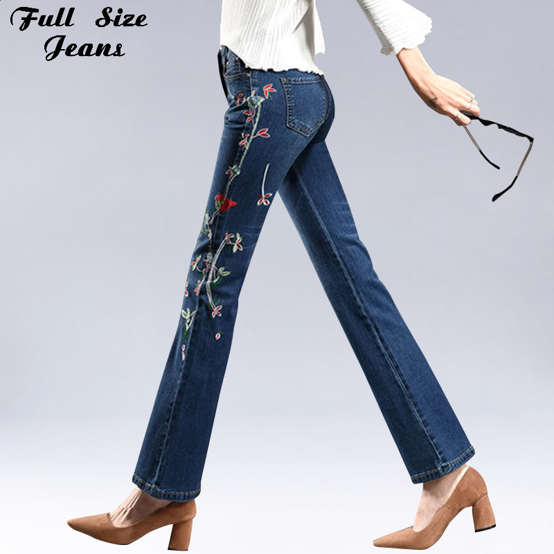 Plus Size Side Flower Embroidered Dark Blue Flare   Jeans   4Xl 5Xl 7Xl Women Oversized Slim Hip Stretch Pants Wide Leg