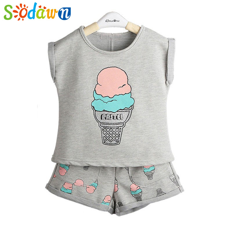 Sodawn 2017 Summer New Baby Girl Clothes Ice-Cream Printing T-Shirt Top+Short Pants 2 Pcs Kids Clothing Set Children Item 3-7Y 2017 summer new children baby girl clothing denim set outfits short sleeve t shirt overalls skirt 2pcs set clothes baby girls