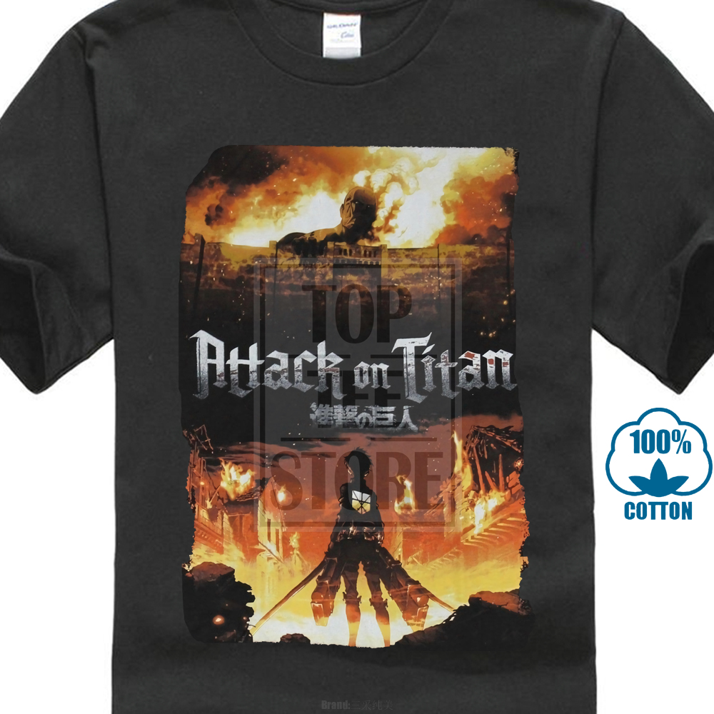 Attack On Titan Mens T Shirt Titan Approaching Wall In Firery Mess Image