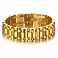 17mm larghezza Tono Oro di Alta Qualità 316L Bracciale In Acciaio inossidabile uomo Watch Band Stile Catena Chunky Braccialetto per uomini