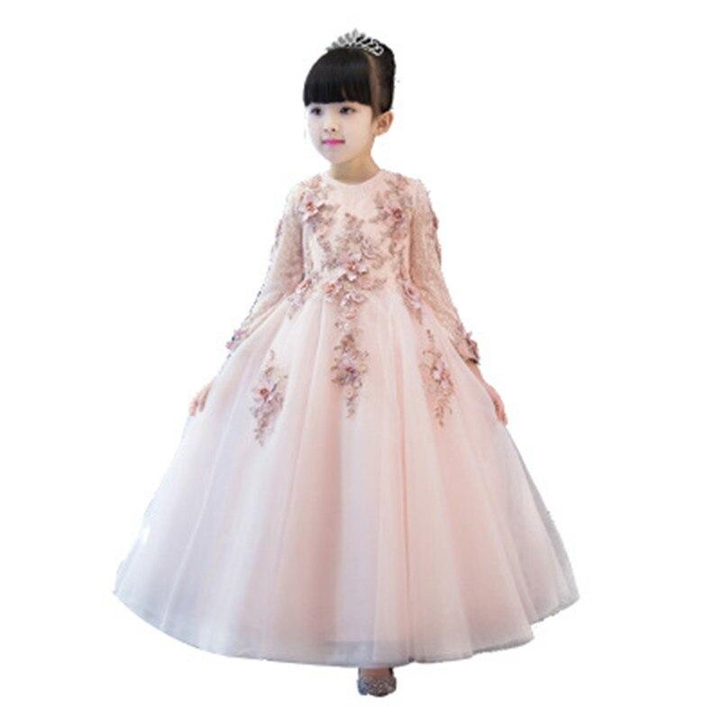 Bébé filles Tulle exquise dentelle princesse robe enfants filles cheville longueur fleurs baptême fête mariage anniversaire robes H02