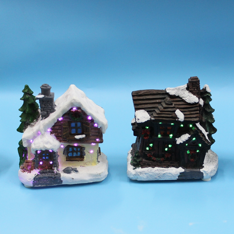 4 led paper mache polyresin christmas houses de