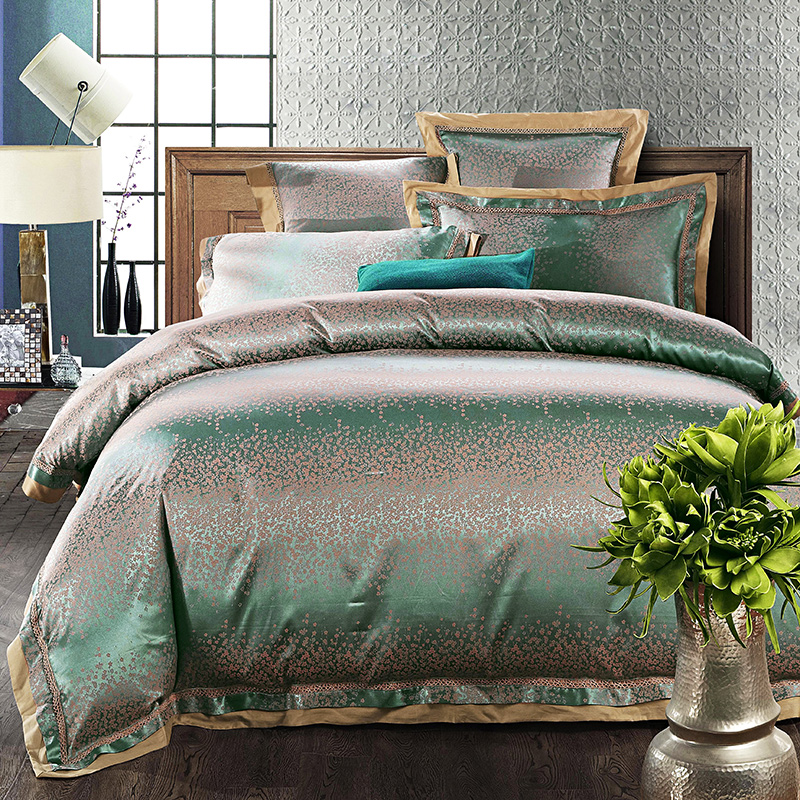 2017 Luxury Green silver white duvet cover set lace border linens silk cotton jacquard Queen/King size 4/6pcs bedding sets2017 Luxury Green silver white duvet cover set lace border linens silk cotton jacquard Queen/King size 4/6pcs bedding sets