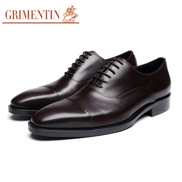 GRIMENTIN genuine leather mens dress shoes black brown formal business male shoes 2017