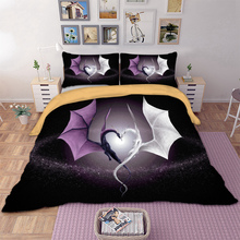 Wongs Bedding 3D purple white dragon  set polyester Duvet Cover Bed Set Single Twin queen king size drop shipping