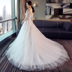 Image 2 - אופנה פשוט 100 CM ארוך רכבת Vestido דה Noiva 2020 סגנון חדש שלושה רבעון בתוספת גודל חתונה שמלת תחרה טול כלה אשליה