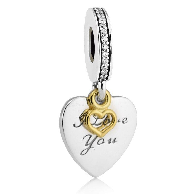 Fit pour pandora bracelets amour vous pour toujours charmes avec 14 k réel or authentique 925 en argent sterling perles bijoux livraison gratuite