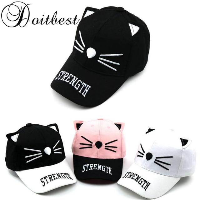 2018 Spring Children HipHop Baseball Cap Cute cartoon cat Child summer kids  Sun Hat Boys Girls snapback Caps 2-8 years old 103a50773553