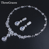ThreeGraces New Arrival Silver Color Luxury Long Big Bridal Cubic Zircon Jewelry Sets For Wedding Necklace Brides JS090