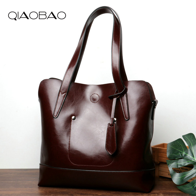 QIAOBAO Fashion Women Oil Wax Genuine Leather Women Bag Large Capacity Tote Bag Big Ladies Shoulder Bags Famous Brand Bolsas tote bag