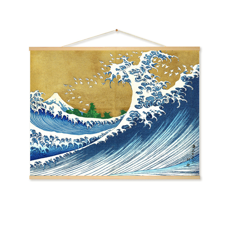 Japanese Art Ocean Waves Seascape 12x12 inch Needlepoint Canvas 14ct mono deluxe