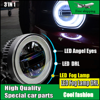 Car styling LED Daytime Running Light Day Light For Peugeot 206 LED Fog Light Lamp Angel Eyes DRL 3 IN 1 Functions