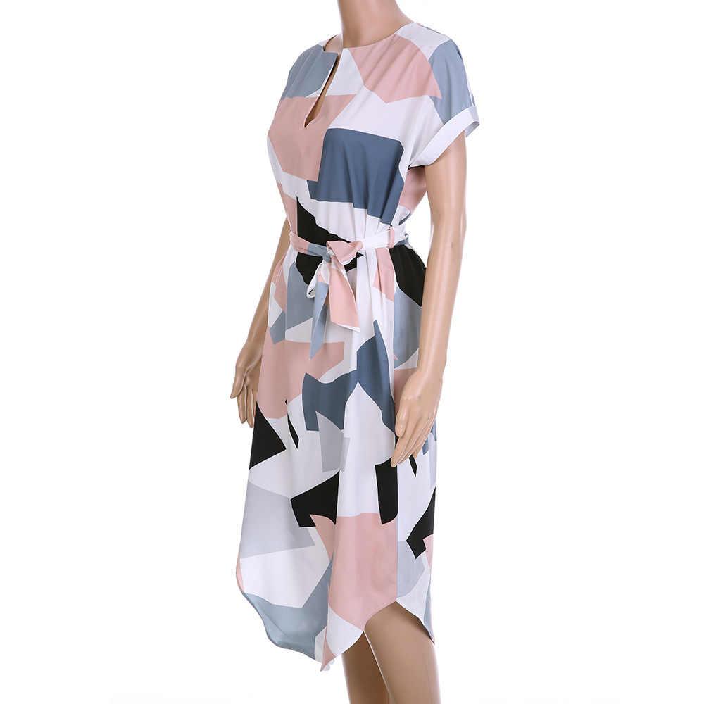 LOSSKY женское платье-карандаш средней длины летнее геометрическое разноцветное платье до середины икры длинный Стенд воротник новинка геометричное узкое прямое платье